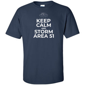 Keep Calm And Storm Area 51 White Logo Tee Navy